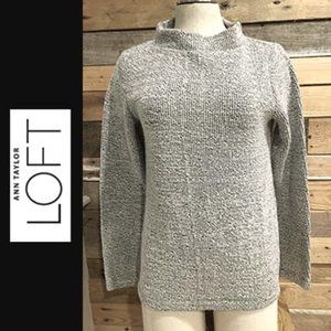 LOFT Mock Neck Charcoal Sweater Size Small